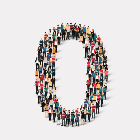 A large group of people in the form of a number zero 0. Vector illustration. Stock Illustratie