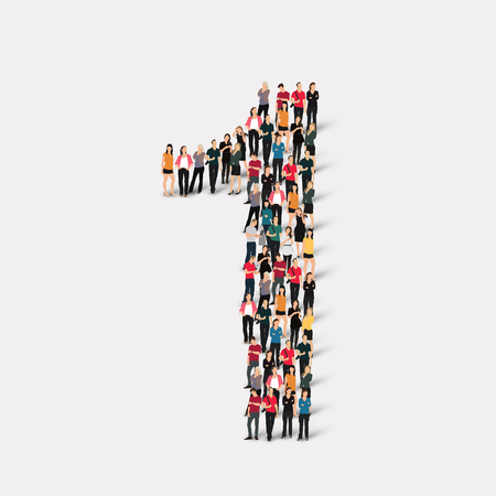 jeden: Velká skupina lidí, ve formě číslo jedna 1 vektorové ilustrace. Ilustrace