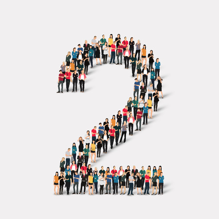 A large group of people in the form of a number two 2. Vector illustration.