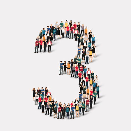 orthographic symbol: A large group of people in the form of a number  three 3. Vector illustration. Illustration