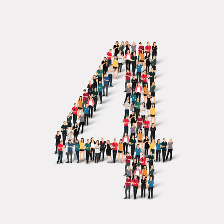 A large group of people in the form of a number  four 4. Vector illustration.