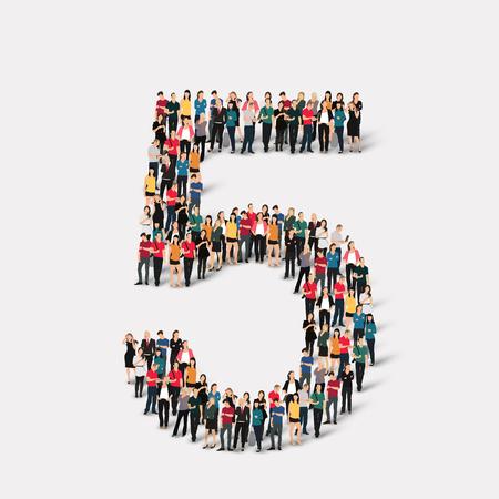 5 5 という数字の形で人々 の大規模なグループ。ベクトルの図。