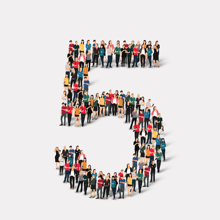 orthographic symbol: A large group of people in the form of a number  five 5. Vector illustration. Illustration