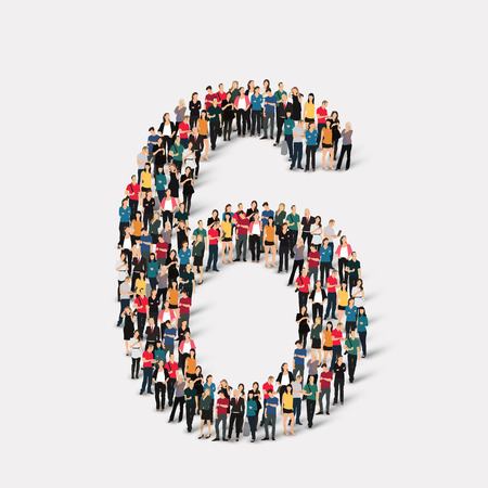 orthographic symbol: A large group of people in the form of a number  six 6. Vector illustration. Illustration