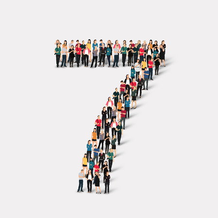 A large group of people in the form of a number  seven 7. Vector illustration.