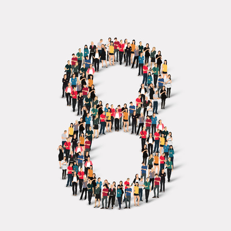A large group of people in the form of a number  eight 8. Vector illustration. Çizim