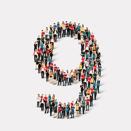 A large group of people in the form of a number  nine 9. Vector illustration.