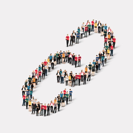 A large group of people in the form of chain link . Vector illustration. Stock Illustratie