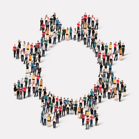 gear symbol: A large group of people in the form of gear . Vector illustration.