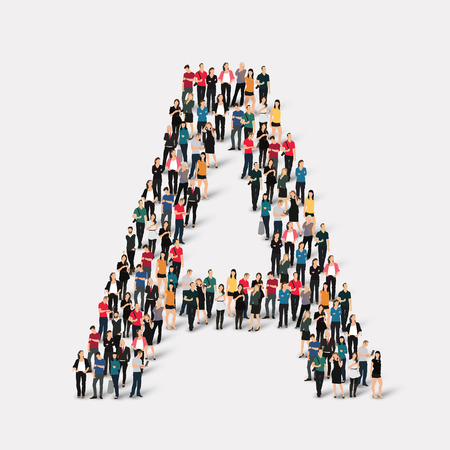Large group of people in letter form. Vector illustration. Illustration