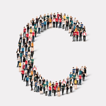 Grand groupe de personnes sous forme de lettre. Vector illustration. Banque d'images - 45349695