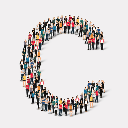Large group of people in letter form. Vector illustration. Ilustracja