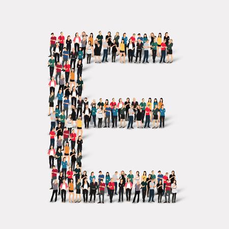 Grand groupe de personnes sous forme de lettre. Vector illustration. Banque d'images - 45343118