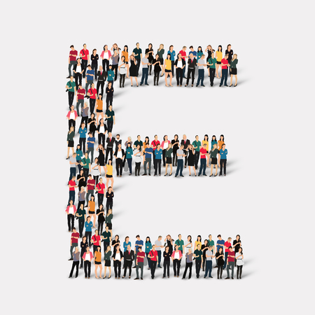 Large group of people in letter form. Vector illustration. Stock Illustratie