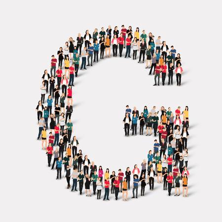 Grand groupe de personnes sous forme de lettre. Vector illustration. Banque d'images - 45343120