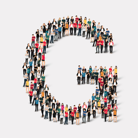 orthographic symbol: Large group of people in letter form. Vector illustration. Illustration