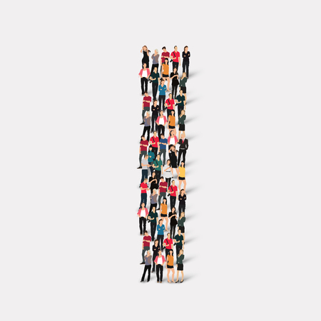 large  group: Large group of people in letter form. Vector illustration. Illustration