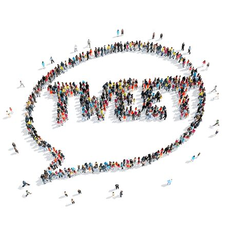 tweet: A group of people in the shape of a chat bubble, tweet , cartoon, isolated, white background. Stock Photo