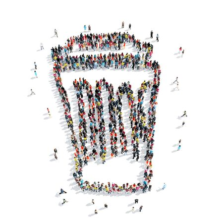 A group of people in the shape of a trash can, cartoon, isolated, white background. Stock Photo