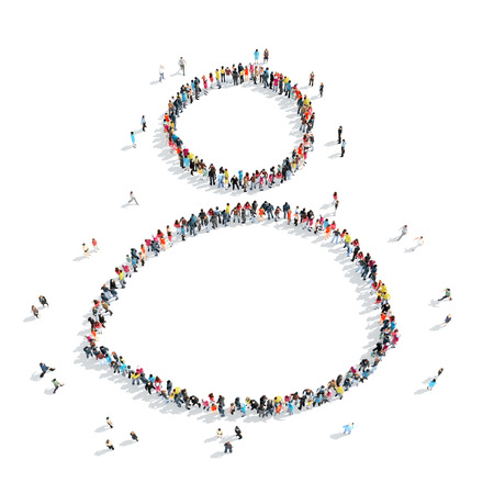 A group of people in the shape of man, cartoon, isolated, white background. Stock Photo