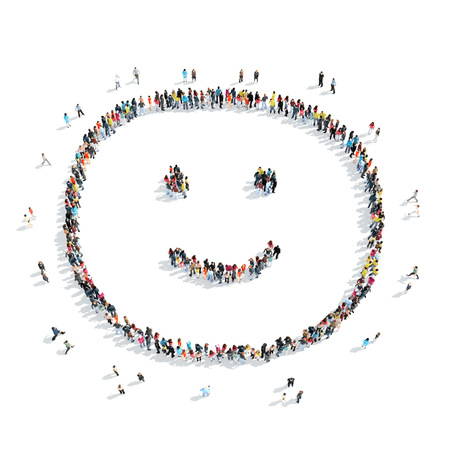 smiling people: A group of people in the shape of a smile, cartoon, isolated, white background.