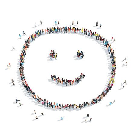 Een groep mensen in de vorm van een glimlach, cartoon, geïsoleerde, witte achtergrond. Stockfoto