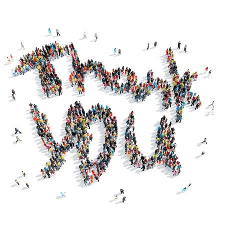 merci: Un groupe de personnes en forme de merci, dessin anim�, isol�, sur fond blanc. Banque d'images