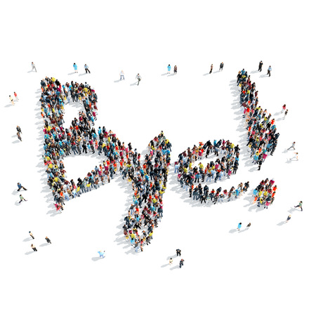 bye: A group of people in the shape of bye  , cartoon, isolated, white background.
