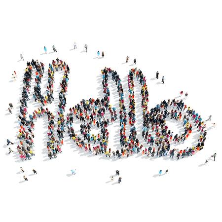 zapatos caricatura: Un grupo de personas en la forma de saludar, de dibujos animados, aislado, fondo blanco. Foto de archivo