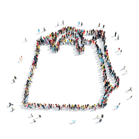 bag cartoon: A group of people in the shape of a bag , cartoon, isolated, white background. Stock Photo