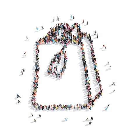 interjection: A group of people in the shape of a bag , cartoon, isolated, white background. Stock Photo