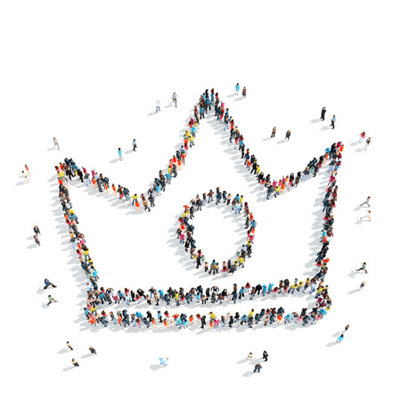 A group of people in the shape of a crown, cartoon, isolated, white background.
