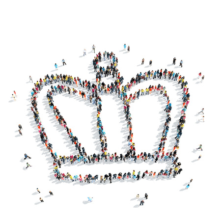 queen s: A group of people in the shape of a crown, cartoon, isolated, white background.