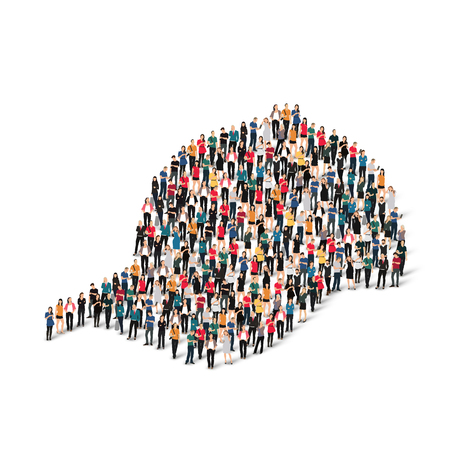amused: A large group of people in the form of a cap . Vector illustration.