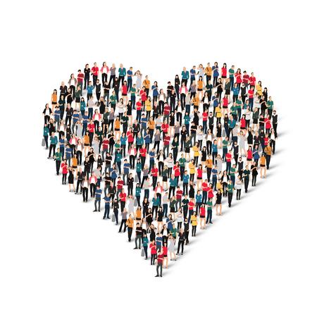 juntos: Un gran grupo de personas en forma de corazón, el amor. Ilustración del vector. Vectores