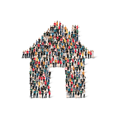 large house: A large group of people in the form of house . Vector illustration.