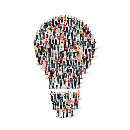 ランプの形で人々 の大規模なグループ。ベクトルの図。  イラスト・ベクター素材