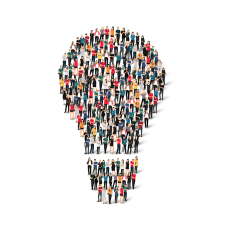 A large group of people in the form of lamp . Vector illustration.