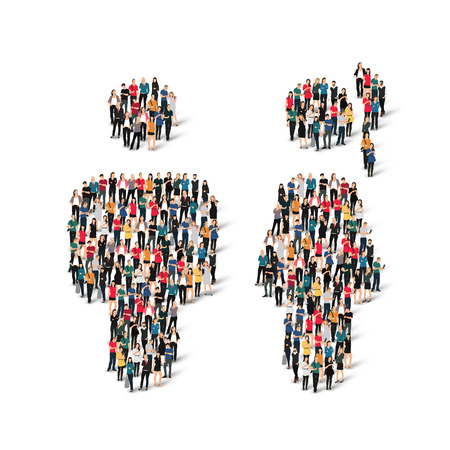 company profile: Large group of people in the shape of man. Vector illustration.
