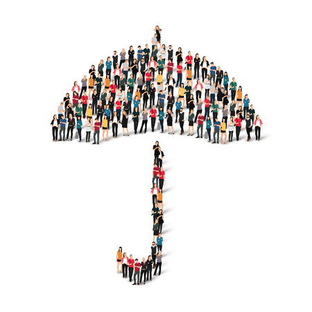 refuge: A large group of people in the shape of umbrella. White background.