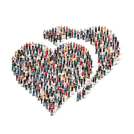 心臓、愛の形の人々 の大規模なグループ。ベクトルの図。