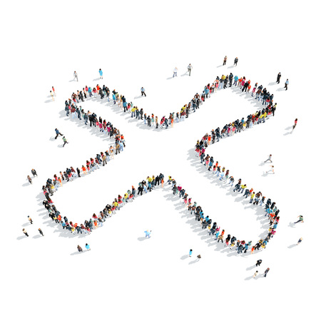 succession: A group of people in the shape of a multiplication sign, cartoon, isolated, white background. Stock Photo
