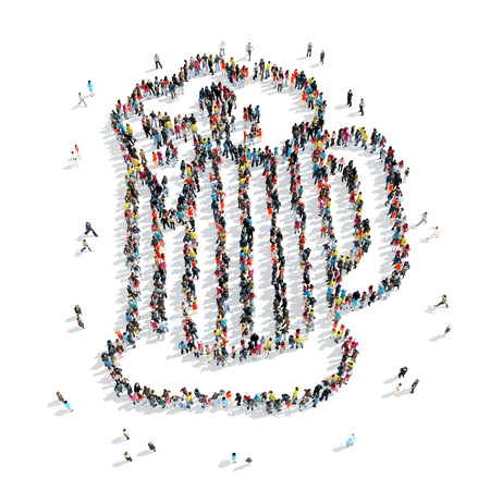 beer belly: A group of people in the shape of a mug of beer, cartoon, isolated, white background.
