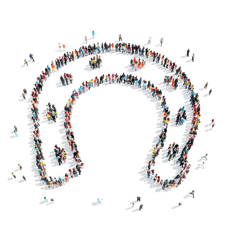 gravitational field: A group of people in the shape of a horseshoe, cartoon, isolated, white background. Stock Photo