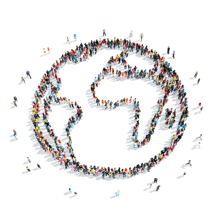 A group of people in the form of Earth,  cartoon, isolated, white background.
