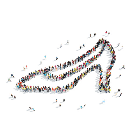 shoes cartoon: A group of people in the shape of shoes, cartoon, isolated, white background.