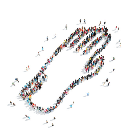 A group of people in the shape of a glove, cartoon, isolated, white background.