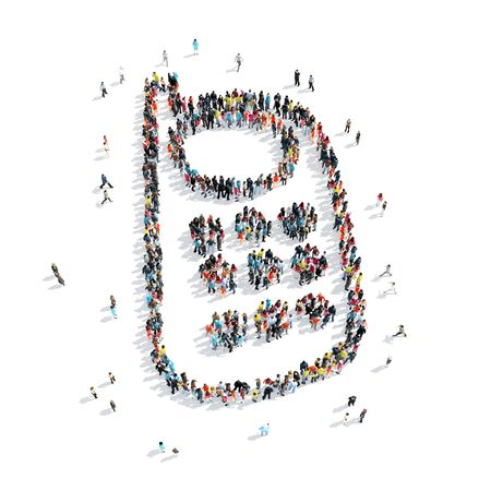 telefono caricatura: A group of people in the shape of a mobile phone, cartoon, isolated, white background.