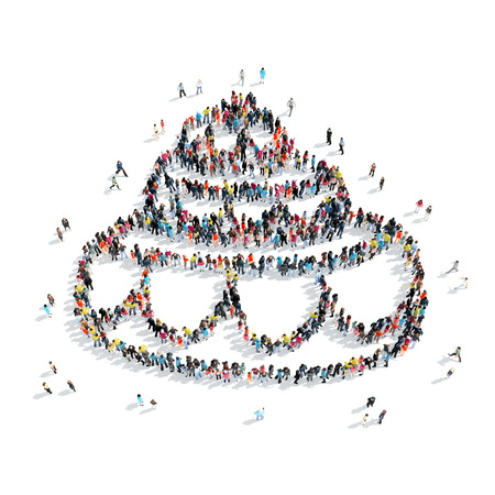 wedding cake isolated: A group of people in the shape of a cake, wedding, cartoon, isolated, white background.