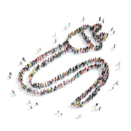 espermatozoides: Un grupo de personas en la forma de alambre eléctrico, aislado, historieta, sobre un fondo blanco.